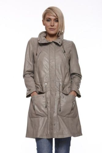 LADIES TAUPE LEATHER PARKA:CX